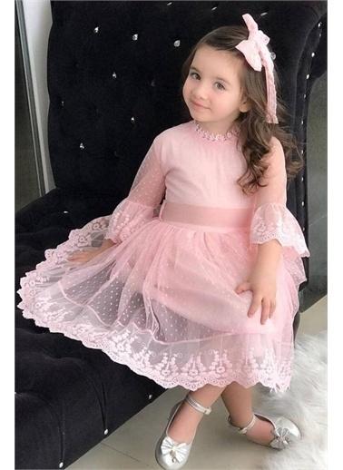 Riccotarz Kız Çocuk Prenses Güpürlü Pudra Elbise Pudra